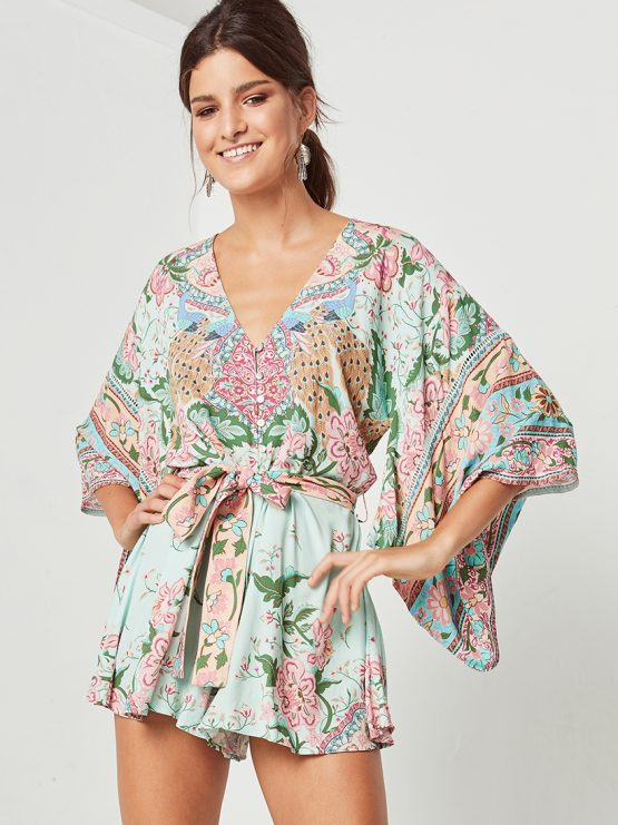 33dc810c3ff Lotus Kimono Romper peacock by SPELL   THE GYPSY COLLECTIVE - Woodybunch