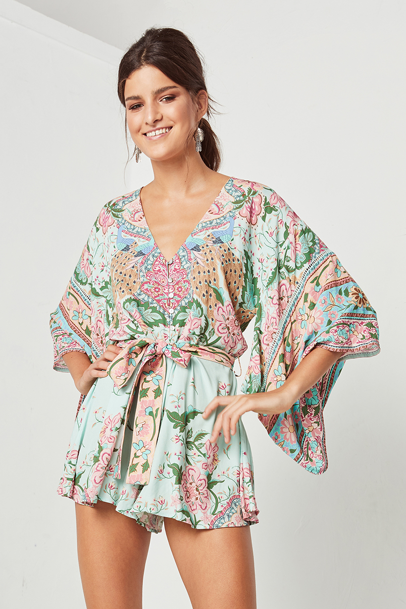 Lotus Kimono Romper Peacock By Spell The Gypsy Collective Woodybunch I Am Cotton Hippie Blue Product Description