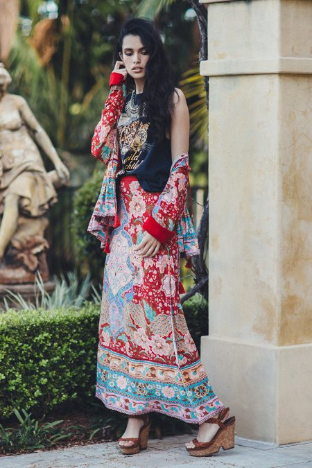 Lotus Maxi Split Skirt ruby von SPELL & THE GYPSY COLLECTIVE