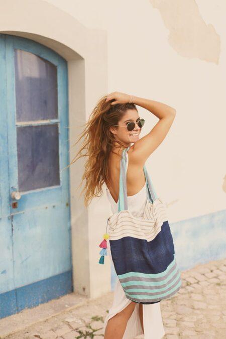 Salsa Pompom Bag blue by MARYSAL