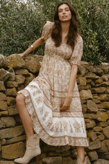 Juniper Shirred Dress cream by SPELL