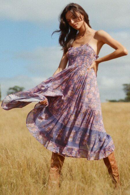 Juniper Shirred Strappy Dress violet by SPELL