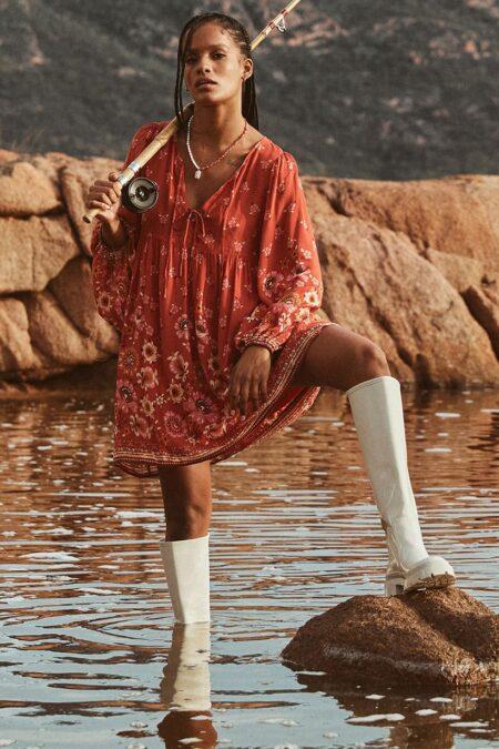 Joni Tunic Dress campfire by SPELL