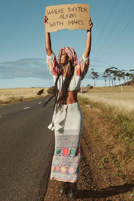 Let The Sunshine Crochet Skirt rainbow by SPELL